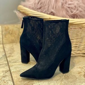 Black Lace Heeled Booties